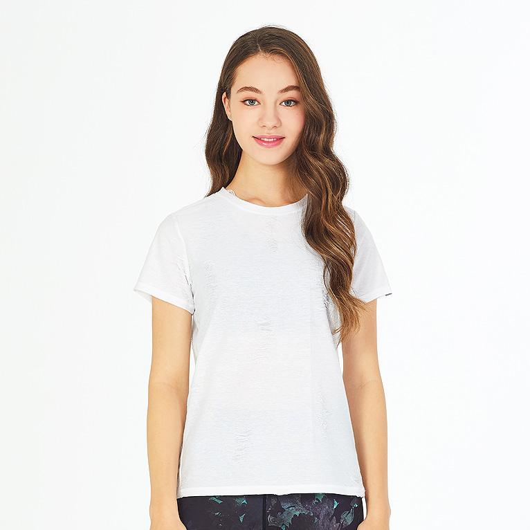 요가복 코브 빈티지 반팔 티셔츠 QNA3305-WH